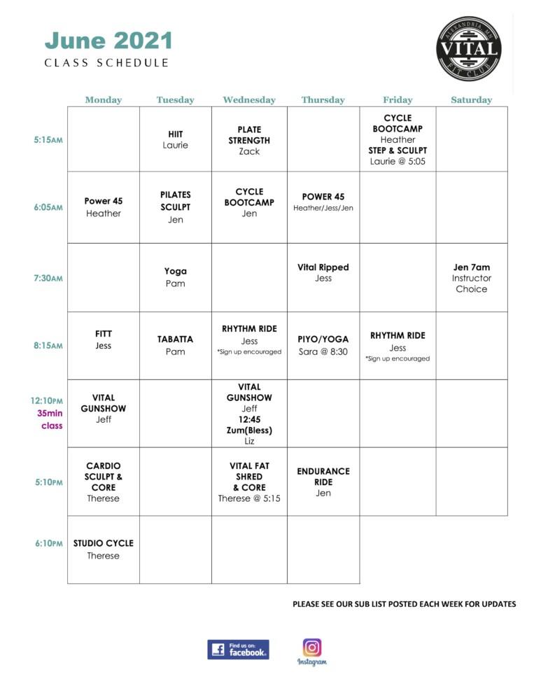 Vital June 2021 schedule