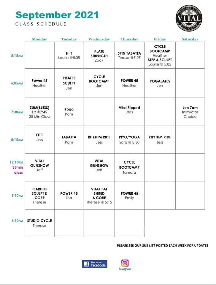 Vital September 2021 schedule